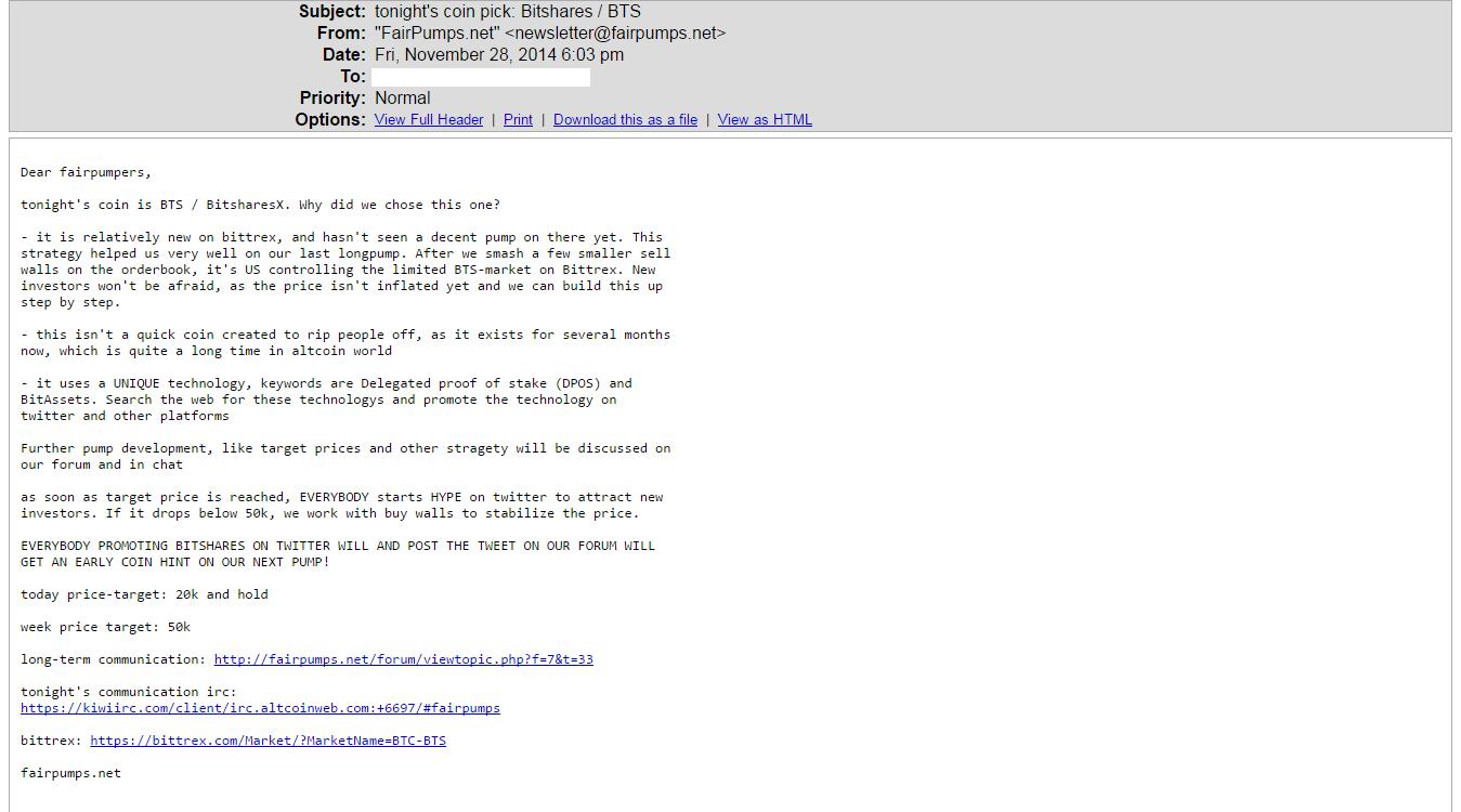 FairPumps Email BitShares Pump
