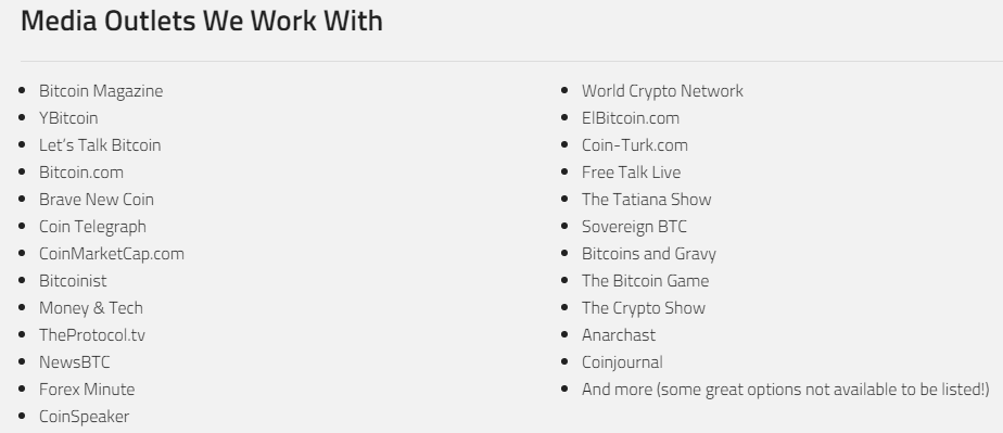 Crypto Media Hub Publisher List