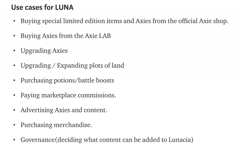 LUNA use cases Axie Infinity