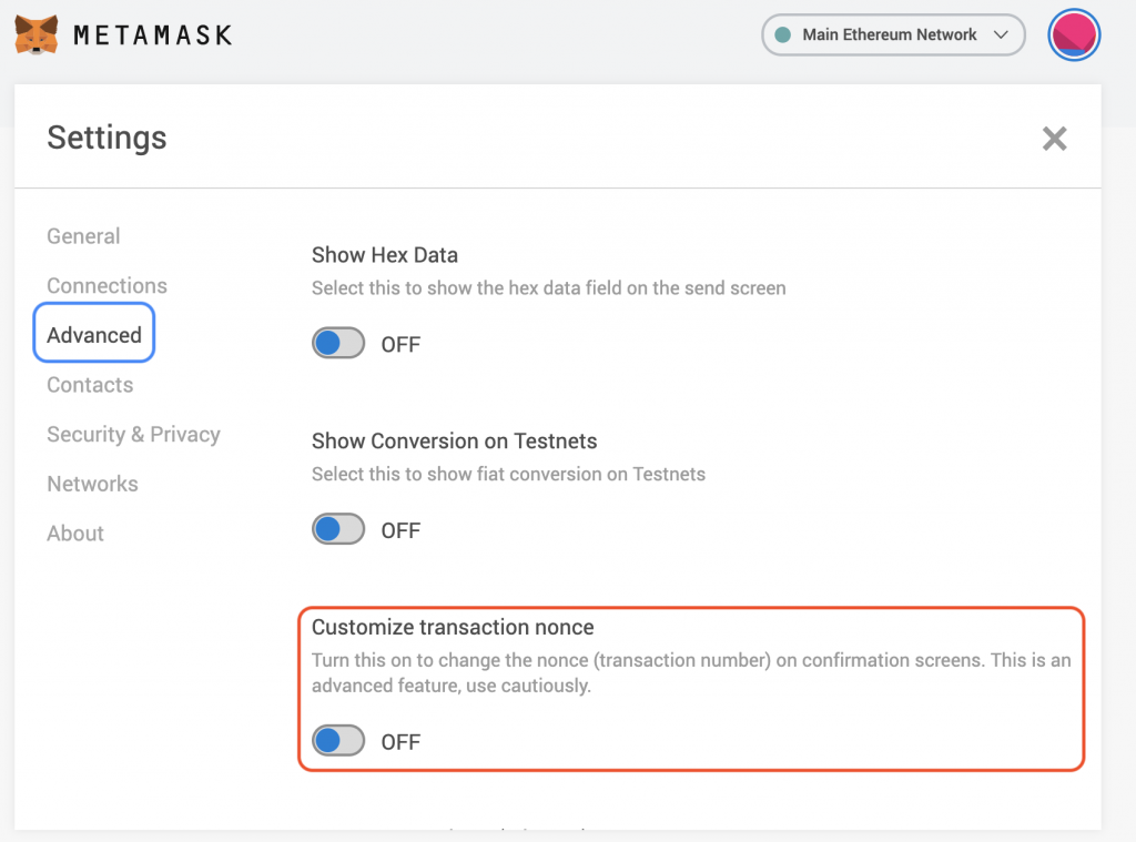 MetaMask Advanced Settings