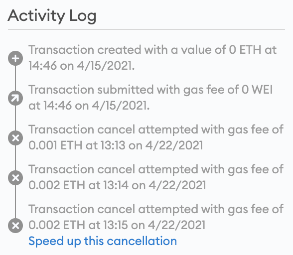 MetaMask cancel transaction natively on the app